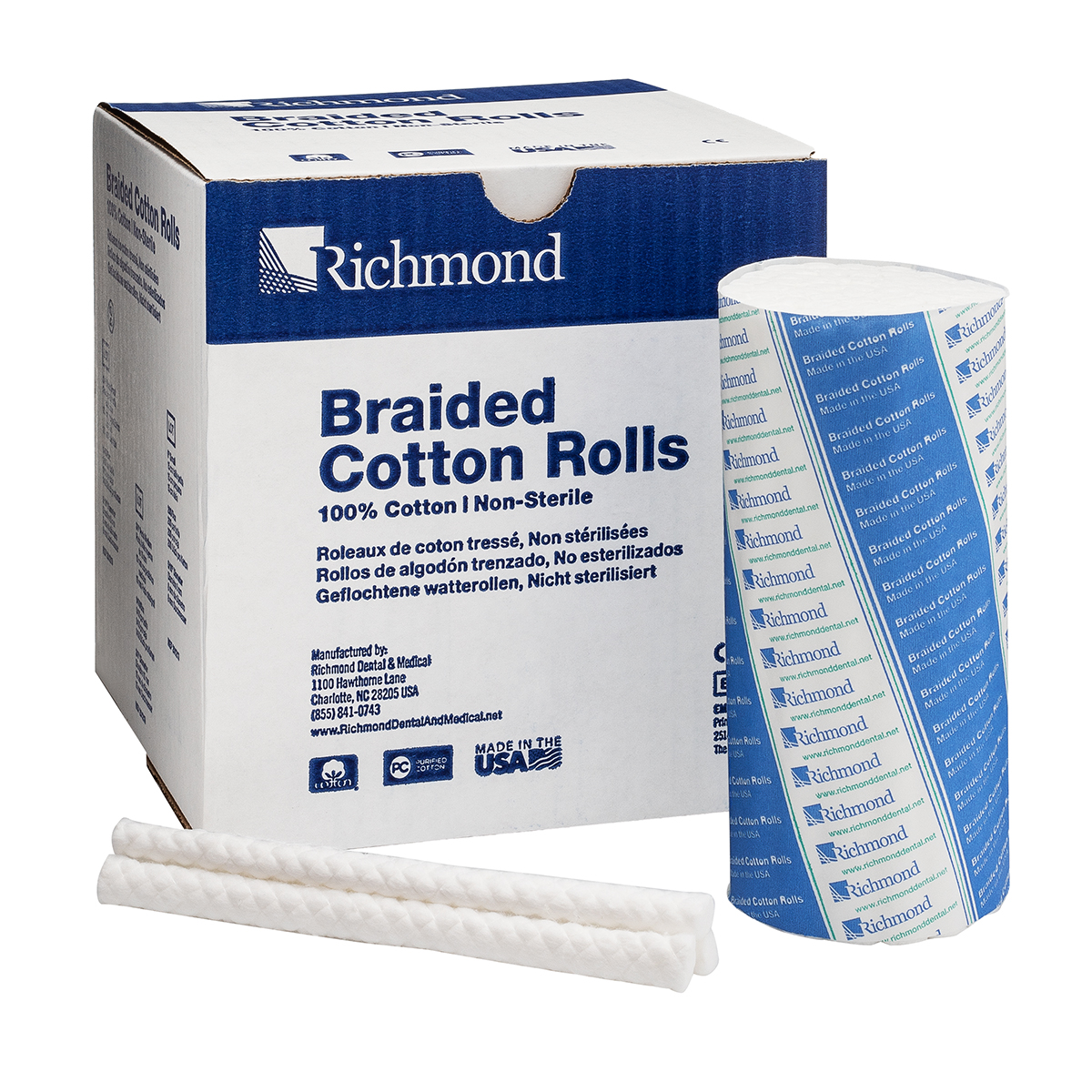 "8840458 Braided Cotton Rolls Non-Sterile, 6"", Medium Dia., 200/Pkg, 201208"