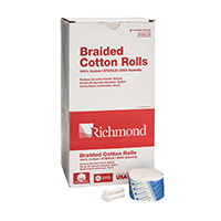 "8840420 Braided Cotton Rolls Sterile, 1½"", Medium Dia., 2000/Pkg, 200206"