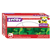 8381140 Zooby Flavored Nitrile PF Gloves Cheetah Cherry, X-Small, White, 100/Box, 696010
