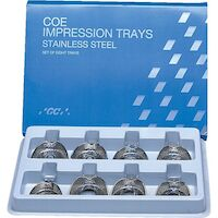 8192740 Coe Stainless Steel Perforated Regular Impression Trays Set of 8, Full Set Perforated, 264008