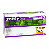 8281360 Zooby Flavored Latex PF Gloves Growlin' Grrrape, X-Small, 100/Box, 690010