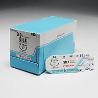 "8522560 Black Braided Silk Sutures 3-0, 18"", X-1, 12/Box, 632G"