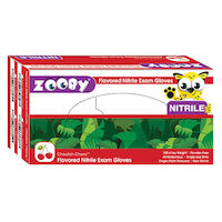 8381141 Zooby Flavored Nitrile PF Gloves Cheetah Cherry, Small, White, 100/Box, 696110