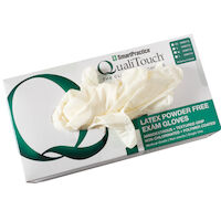 3051132 QualiTouch Latex PF Gloves Medium, 100/Box, 40873