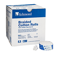 "8840462 Braided Cotton Rolls Non-Sterile, 3/4"", Small Dia. Pedo, 1400/Pkg, 201219"