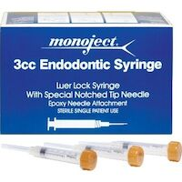 "8872292 Monoject Endodontic Needles & Syringes Sterile Endo Irrigation Syringe w/Needle, 3 ml, 27 Ga x 1 1/4"", Yellow, 100/Box, 8881513850"
