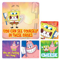 3313213 SpongeBob Stickers SpongeBob w/Toothbrush, PS247, 100/Roll