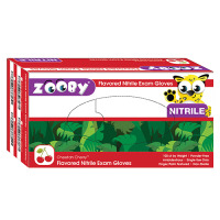 8381143 Zooby Flavored Nitrile PF Gloves Cheetah Cherry, Large, White, 100/Box, 696310