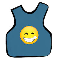 9200044 Cling Shield Child Aprons Pano Dual Apron, No Collar, Slate Blue, 26CSMILEY