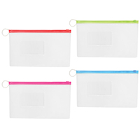 "3310264 Vinyl Pouches Clear w/Colored Trim Pouch, 10"" W x 6""H, 144/Pkg."