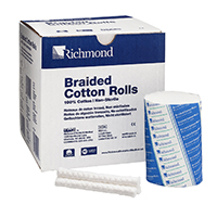 "8840464 Braided Cotton Rolls Non-Sterile, 4"", Medium Dia., 250/Pkg, 201226"