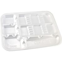 "9531994 ProTrays Disposable Instrument Trays Divided Set Up Tray, 9 1/2""x 13 1/4"", White, 200/Pkg, DT-00W"