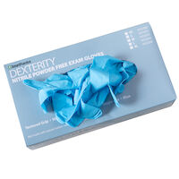 3051105 Dexterity 100 Nitrile PF Gloves Medium, Blue, 100/Box, 433202