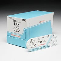 "8522505 Black Braided Silk Sutures 3-0, 18"", FS-1, 12/Box, 684G"