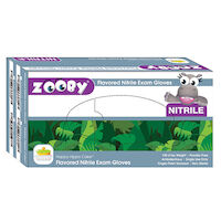 8381145 Zooby Flavored Nitrile PF Gloves Happy Hippo Cake, X-Small, Blue, 100/Box, 697010