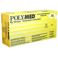 2212036 Polymed Latex PF Gloves XSmall, 100/Box, PM101