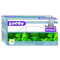 8381146 Zooby Flavored Nitrile PF Gloves Happy Hippo Cake, Small, Blue, 100/Box, 697110