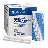"8840456 Braided Cotton Rolls Non-Sterile, 6"", Large Dia., 100/Pkg, 201205"