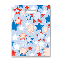 "3310856 Specialty Scatter Bags Red/White/Blue Tooth & Star, 7"" x 10"", 100/Pkg."