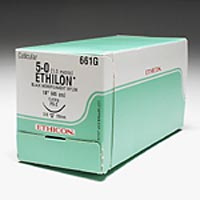 "3266466 Ethilon Black Monofilament Sutures 5-0, FS-2, Black, 18"", 12/Box, 661G"