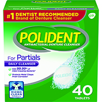 0074076 Polident for Partials Antibacterial Cleaner, 40/Box, 03310