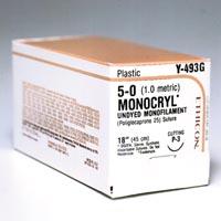 "3266776 Monocryl Monofilament 5-0, P-3, Undyed, 18"", 12/Box, Y493G"