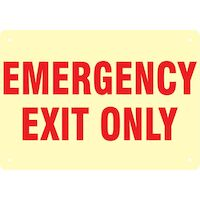 9539727 Medical Safety Signs Emergency Exit Only, Glow, MEXS