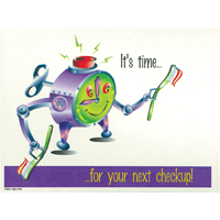 3315057 It's Time For Your Next Checkup Postcard Clock/Brush Postcards, 250/Pkg., RC5134