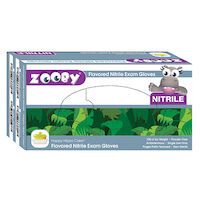 8381148 Zooby Flavored Nitrile PF Gloves Happy Hippo Cake, Large, Blue, 100/Box, 697310