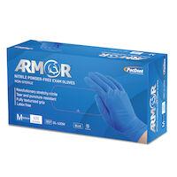 5251758 Armor Nitrile Powder-Free Exam Gloves Medium,100/Box,Blue,GL-100M