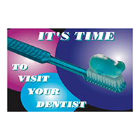 3314188 Reminder Cards Time to Visit Your Dentist, 4-UP Recall, 200/Pkg.