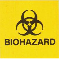 "9539729 Medical Safety Signs Biohazard, 2""x 2"", 25/Pkg., RD2502"