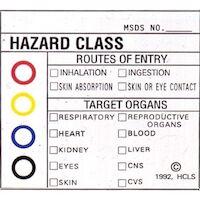 "9539749 Medical Safety Signs Hazardous Substances, Color Coded, 2""x 2"", 25/Pkg., 2902"