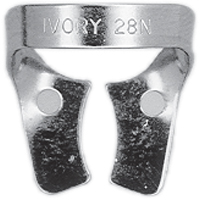 8492569 Ivory Rubber Dam Clamps, Wingless 28N, General Purpose Lower Molar, 57732